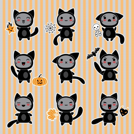 Kawaii collection of Halloween-related objects and creatures  Illustration
