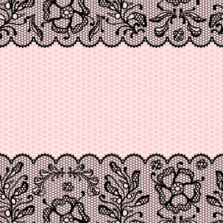 black textured background: Vintage lace frame, ornamental flowers  texture