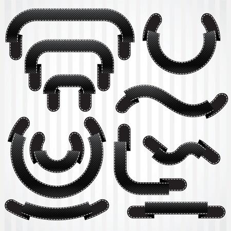 ruban noir: Ensemble de rubans noirs et illustration des bannières