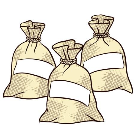 mineralien: S�cke mit Mehl, Zucker und Salz Illustration