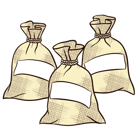 sweetener: sacks of flour, sugar and salt Illustration
