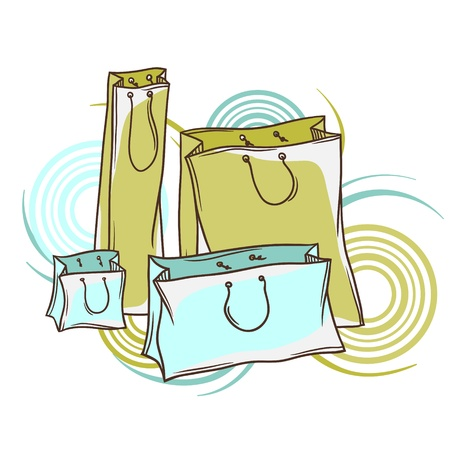 consumerism: Set of colored paper shopping bags  Illustration