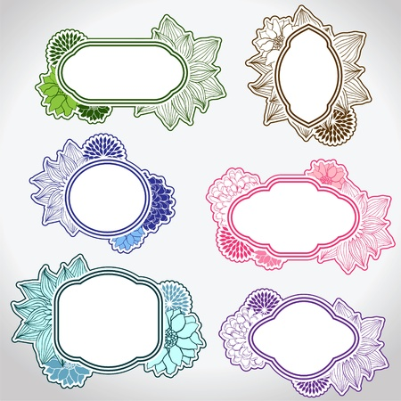 round: Set of different vintage frames illustration  Illustration