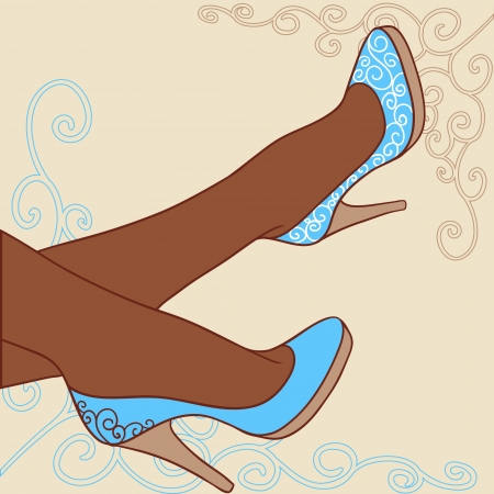 illustration  Fashion background with feminine shoe  Vector