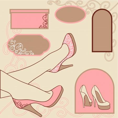 ladies shoes: illustration  Fashion background with feminine shoe  Illustration