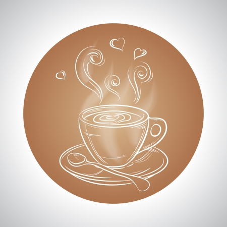 Design with cup of coffee and place for text Vector