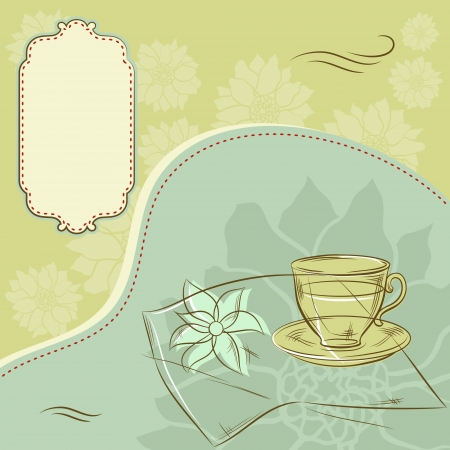 steam of a leaf: Design with cup of coffee and place for text