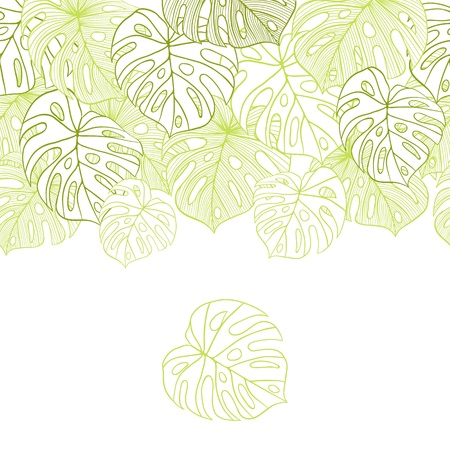 coconut leaf: illustration leaves of palm tree  Seamless pattern