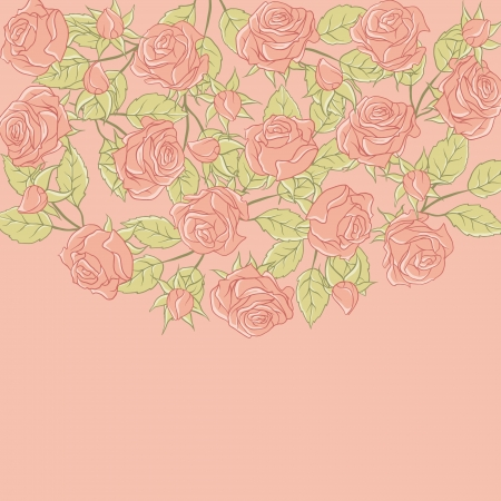 Floral background with rose in pastel tones Stock Vector - 15314932