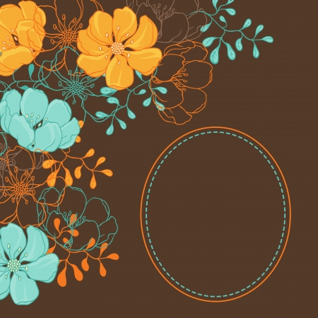 brawn: Vector background with hand drawn stylish flowers