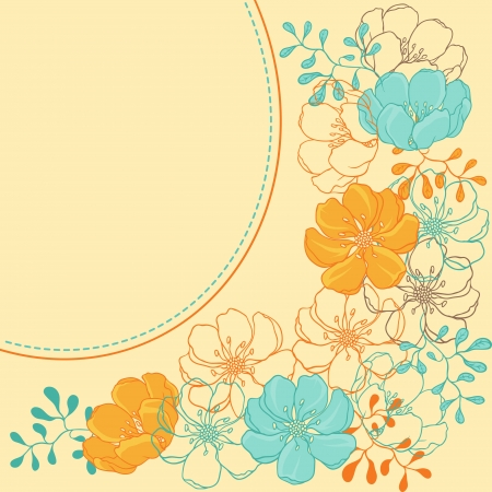 background with hand drawn stylish flowers  Stock Vector - 15312087