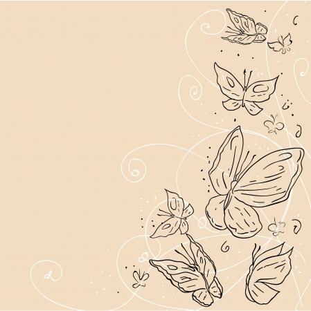 farfalla nera: Disegnare a mano grunge farfalla astratto