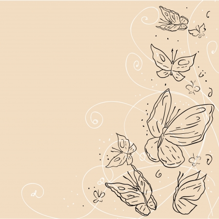 butterflies abstract: Hand draw grunge butterfly  Abstract background