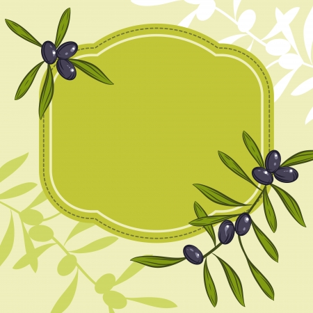 olive branch: Label for product  Olive oil  Green olives  Illustration