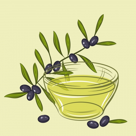 illustration with black olives and cup of oil  Vector