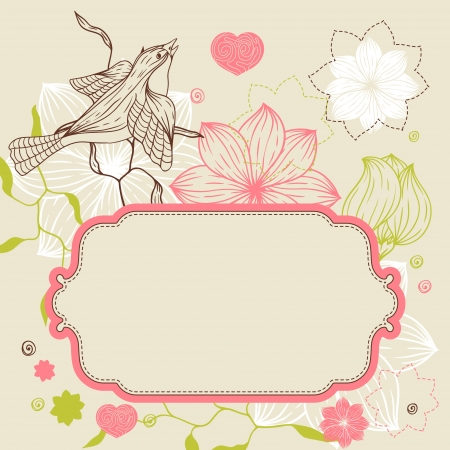 Birds, flower and hearts concept  illustration  Vector