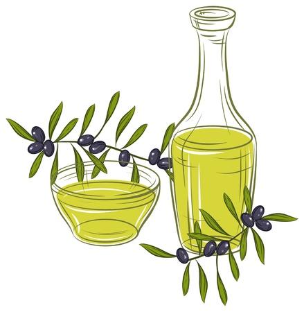 foglie ulivo: illustrazione con olive nere e una bottiglia di olio Vettoriali