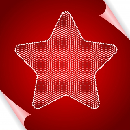 Christmas  background with star of lace  Vector