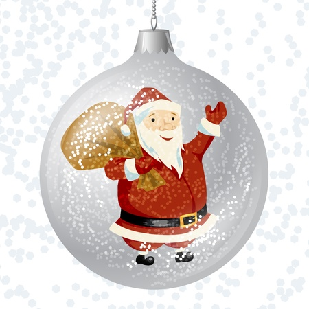 traditional silver wallpaper: Merry Christmas card with brilliant glossy ball