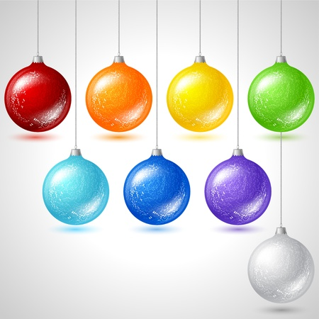 champagne celebration: Merry Christmas vector background with glossy balls