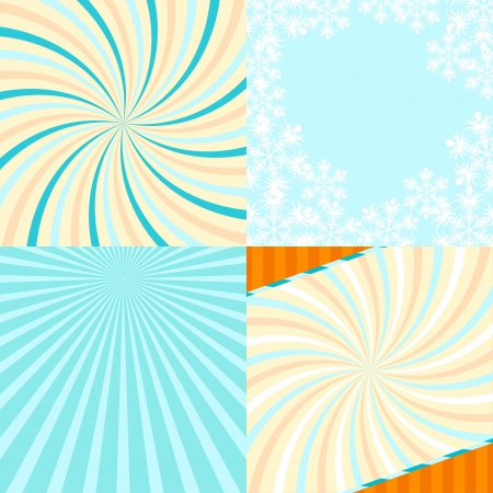 Set of 4 retro lines abstract background with snowflakes  Vector