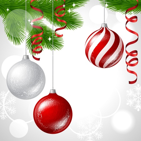 bauble: Merry Christmas vector background with glossy balls