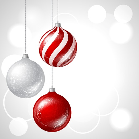 christmas bauble: Merry Christmas vector background with glossy balls