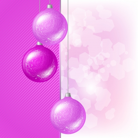 Merry Christmas vector background with glossy balls  Vector