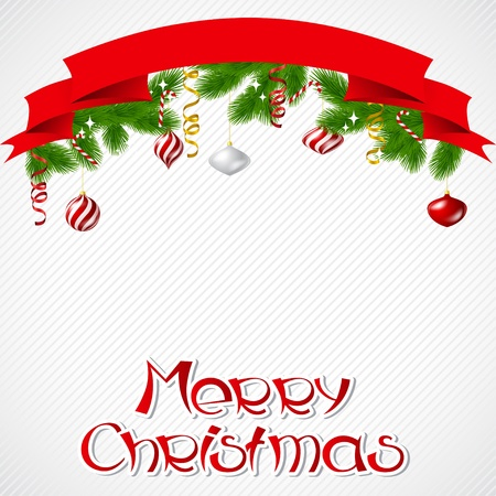christmas scroll: Merry Christmas background with glossy balls  Illustration