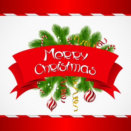 christmas ribbon: Merry Christmas background with glossy balls  Illustration