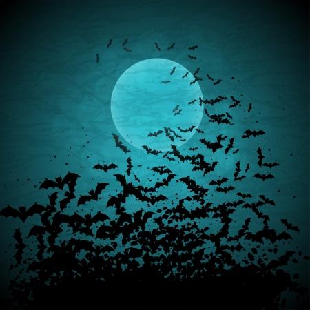 Halloween achtergrond met maan en vleermuizen