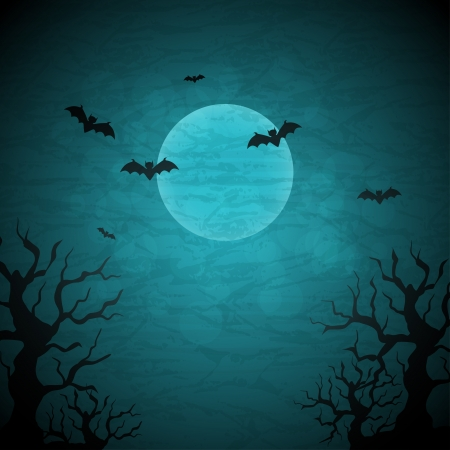 halloween concept: Halloween background with moon and bats