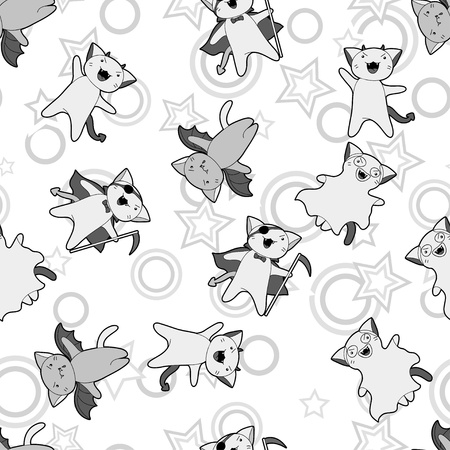 Vector kawaii pattern of Halloween cats and creatures  Vector