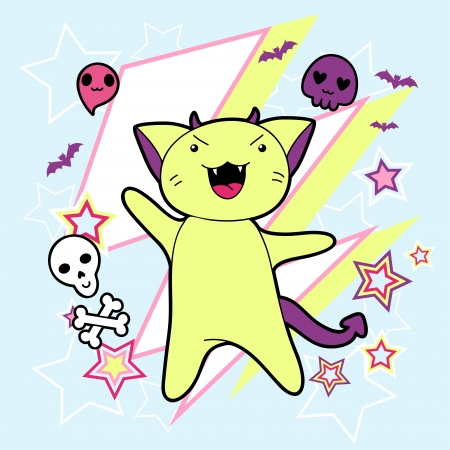 Vector kawaii illustration Halloween cat and creatures  Vector