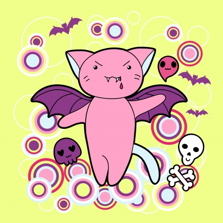 animal skull: Vector kawaii illustration Halloween cat and creatures