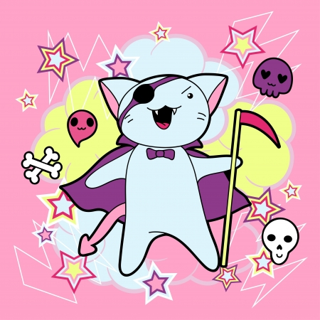 manga: Vector kawaii illustration Halloween cat and creatures