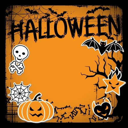 pumpkin border: Vector background of Halloween-related objects and creatures  Illustration
