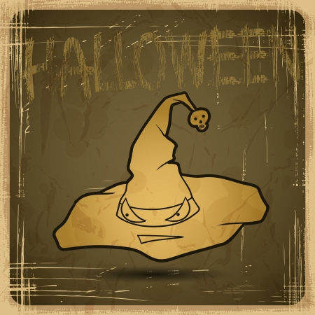 EPS10 vintage grunge old card  Halloween magical hat  Vector