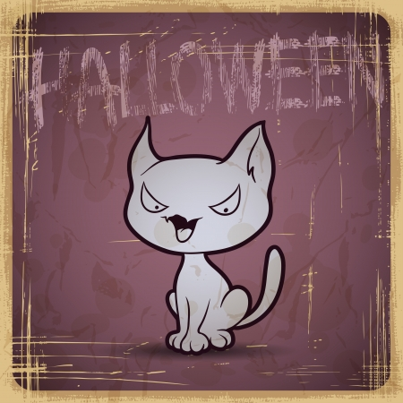 EPS10 vintage grunge old card  Halloween cat  Vector
