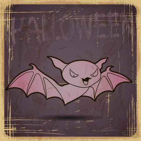 EPS10 vintage grunge old card  Halloween bat  Vector