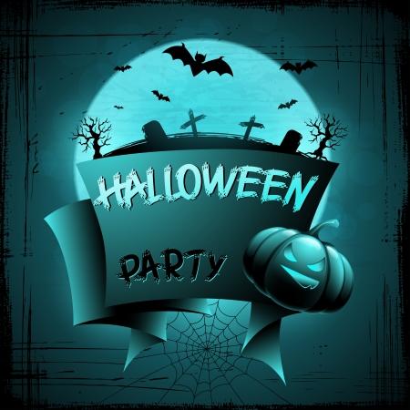 Halloween background with moon, bats and pumpkins Stock Vector - 15481272
