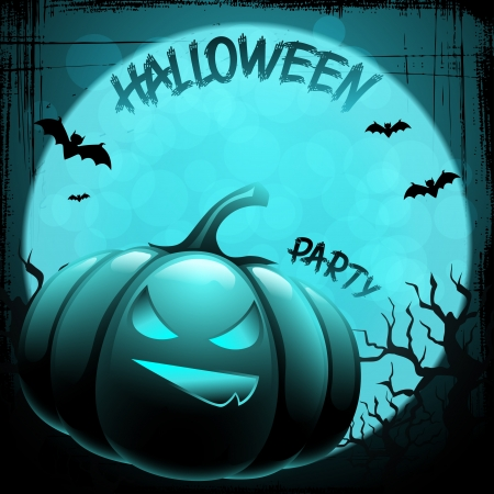 Halloween background with moon, bats and pumpkin  Vector