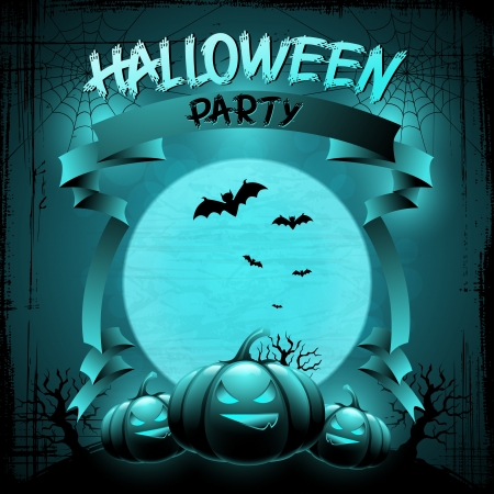 Halloween background with moon, bats and pumpkins Stock Vector - 15481269
