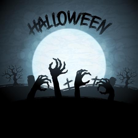 boom halloween: Halloween achtergrond met zombies en de maan