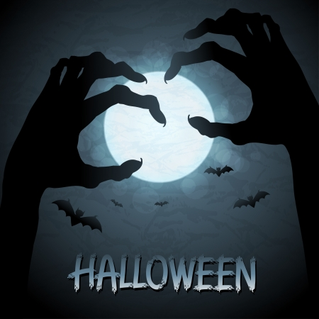 Halloween background with zombies and the moon Vetores