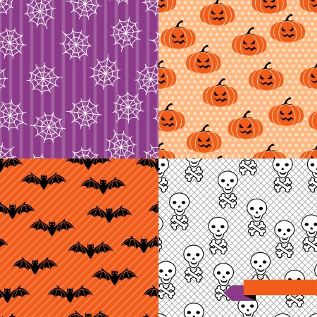 Seamless backgrounds of Halloween-related objects and creatures  Vector