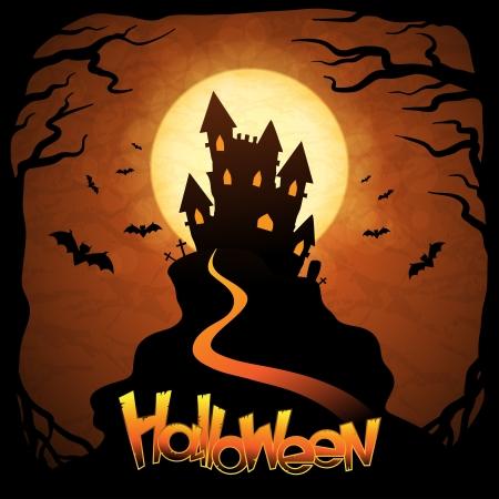 Halloween background with moon, bats and pumpkins Stock Vector - 15588952