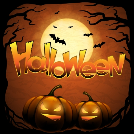 Halloween background with moon, bats and pumpkins  Vector