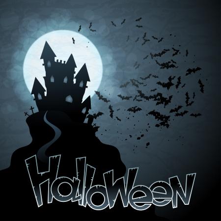 Halloween background with moon, bats and pumpkins Stock Vector - 15588962