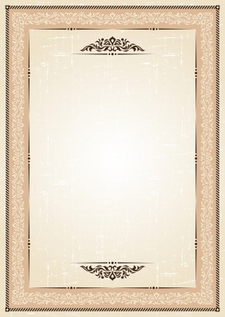 accent abstract: vintage frame at grunge background with retro ornament